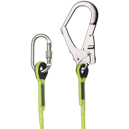 Restraint Lanyard With Karabiner And Scaffold Hook, 1m - 2m
