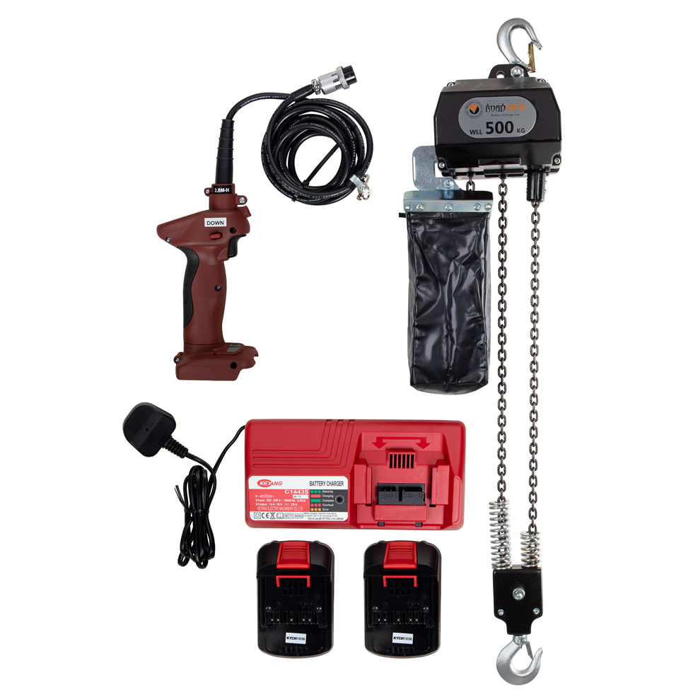 Battery Powered Electric Chain Hoist 500 Kg Lift 5mtr
