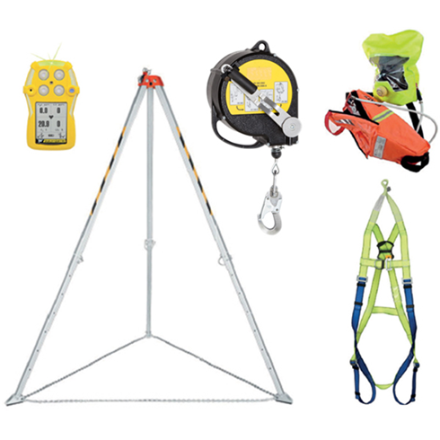 Confined Space Rescue Kit With Fall Arrest, Retrieval Winch, Gas Detector, Breathing Apparatus